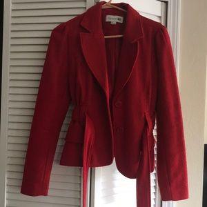 Wool Red Short Peacoat
